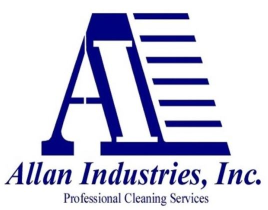 Allan Industries logo - Navy blue capital A with horizontal lines